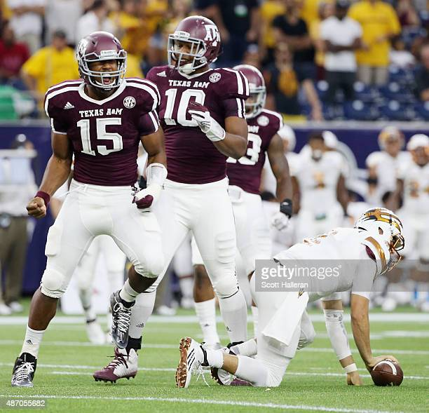Myles Garrett of the Texas AM Aggies celebrates after his sack of Mike Bercovici of the Arizona State Sun Devils during the first half of their game...
