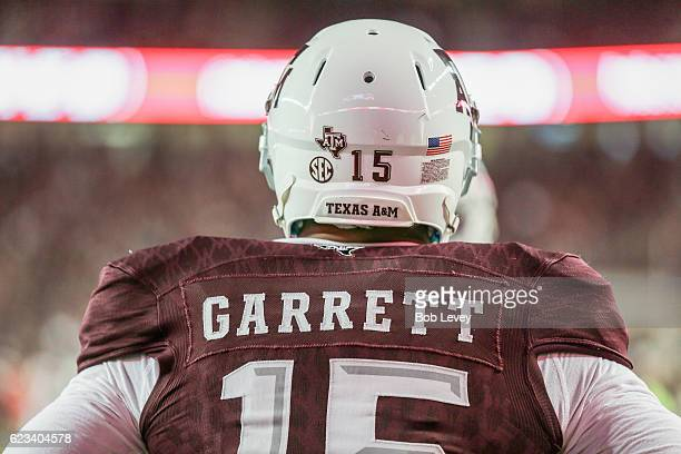 Myles Garrett of the Texas AM Aggies during warm ups before playing the Mississippi Rebels at Kyle Field on November 12 2016 in College Station Texas