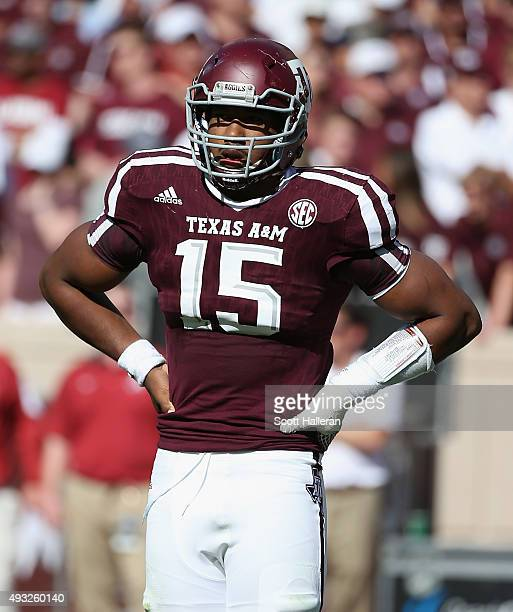 Myles Garrett of the Texas AM Aggies is seen on the field during their game against the Alabama Crimson Tide at Kyle Field on October 17 2015 in...