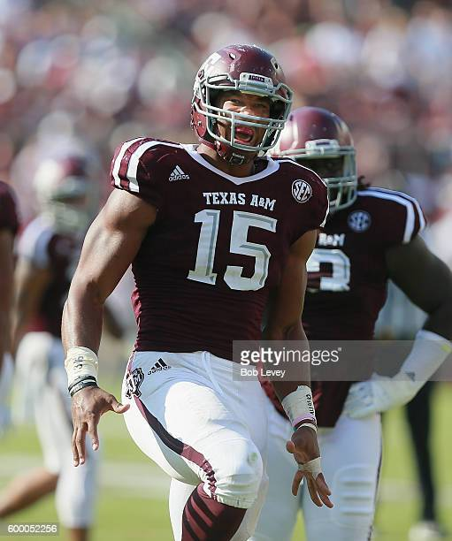 Myles Garrett of the Texas AM Aggies reacts after a defensive play against the UCLA Bruins on September 3 2016 in College Station Texas