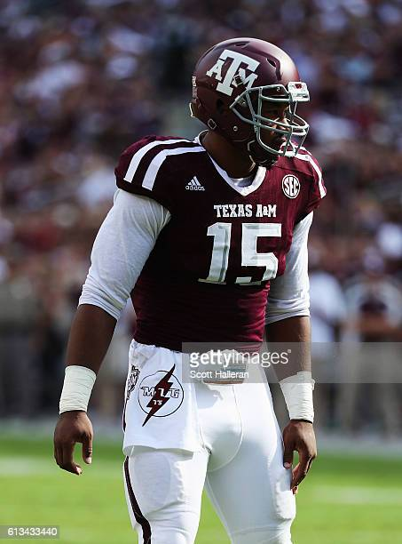 Myles Garrett of the Texas AM Aggies waits for a play in the first half of their game against the Tennessee Volunteers at Kyle Field on October 8...