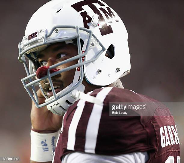 Myles Garrett of the Texas AM Aggies warms up before playing the Mississippi Rebels at Kyle Field on November 12 2016 in College Station Texas