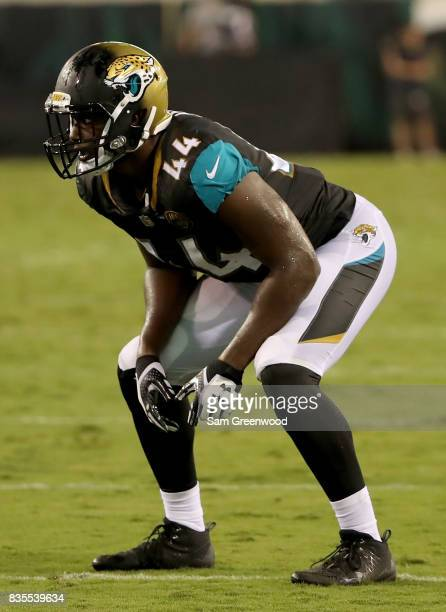 Myles Jack of the Jacksonville Jaguars lines up during a preseason game against the Tampa Bay Buccaneers at EverBank Field on August 17 2017 in...