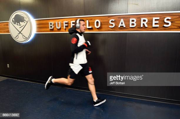 Myles Jury warms up backstage during the UFC 210 event at the KeyBank Center on April 8 2017 in Buffalo New York