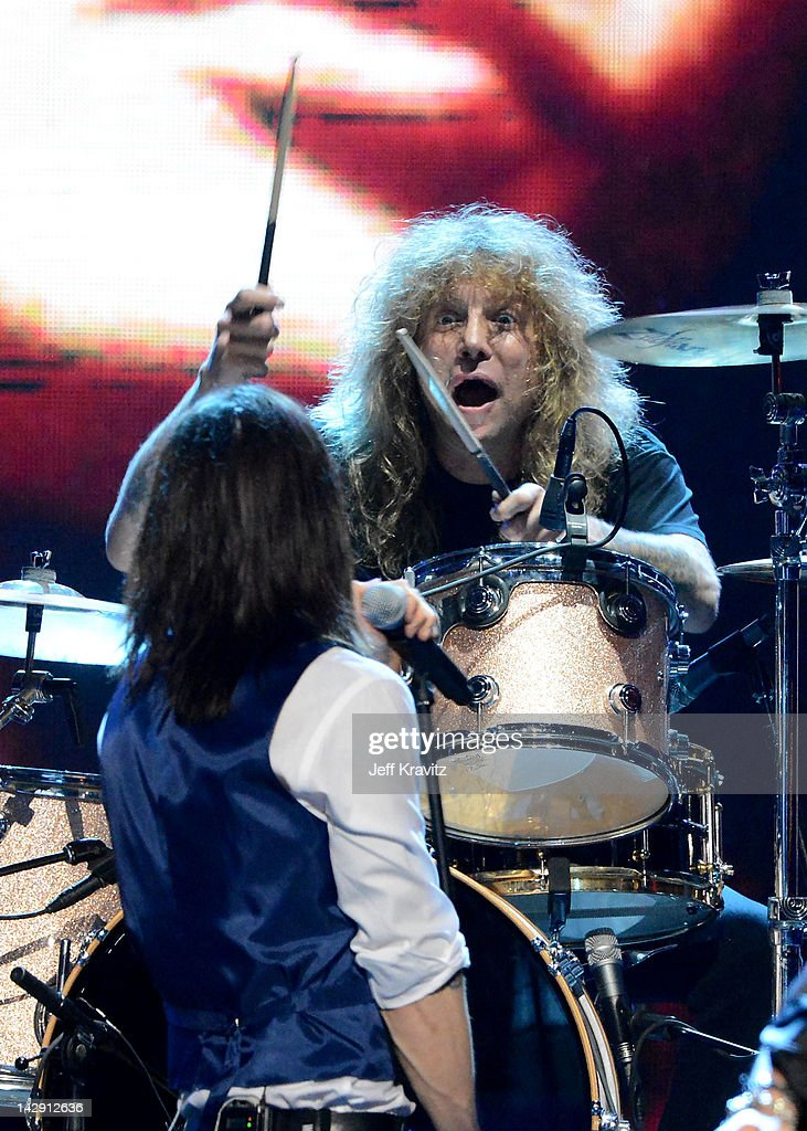 Myles Kennedy and Inductee Steven Adler of Guns N' Roses perform on stage at the 27th Annual Rock And Roll Hall Of Fame Induction Ceremony at Public...