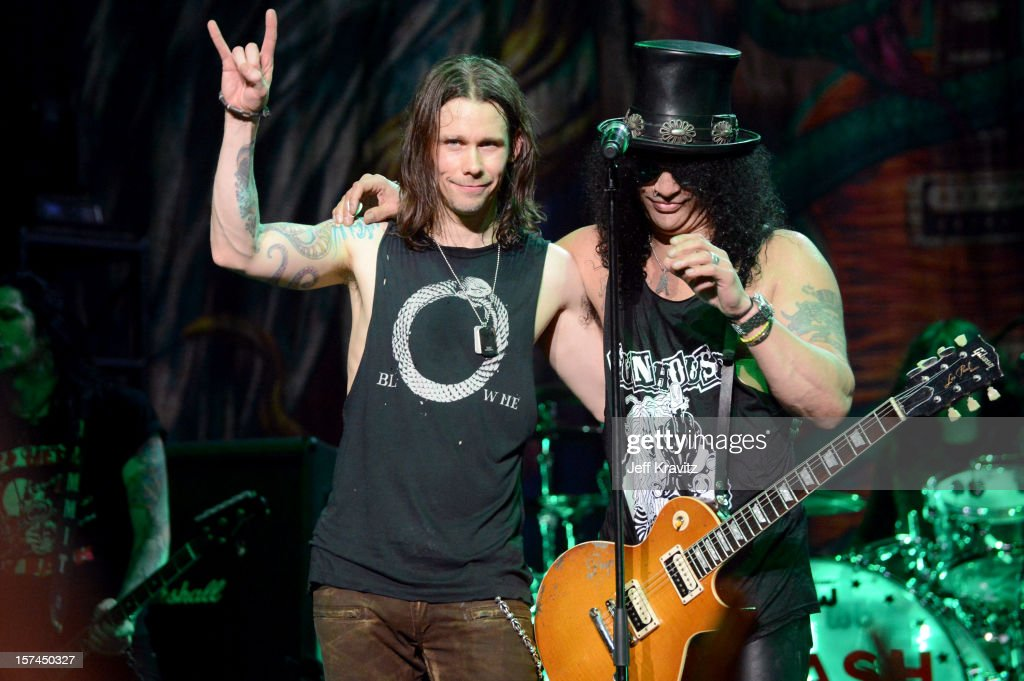 Myles Kennedy and Slash of Slash featuring Myles Kennedy and the Conspirators performs at the Wiltern Theater on December 2 2012 in Los Angeles...