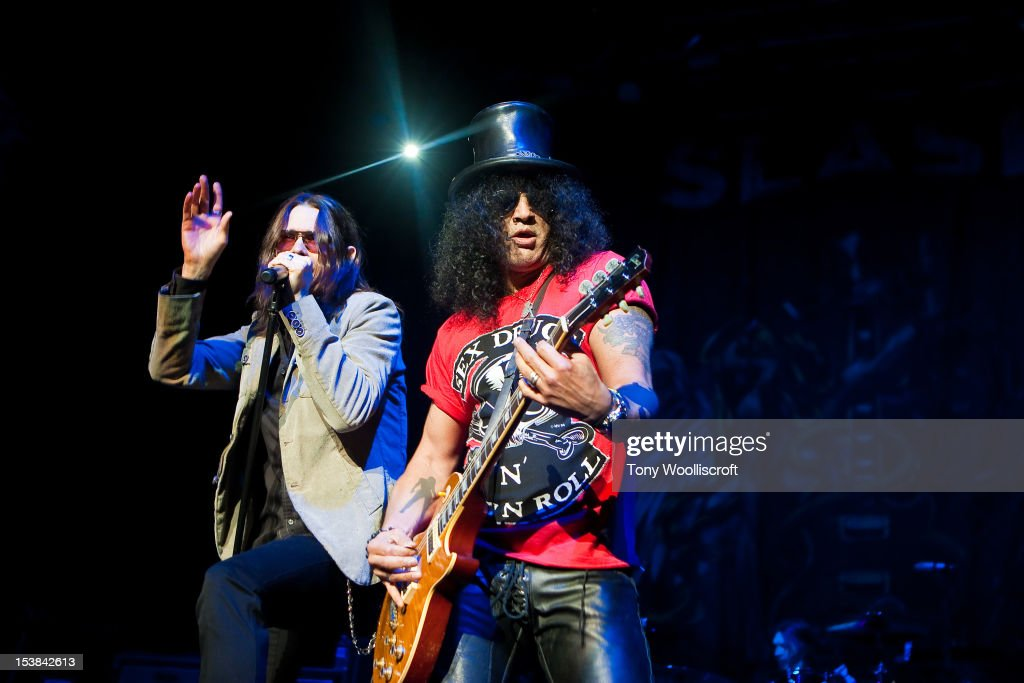 Myles Kennedy and Slash perform at NIA Arena on October 9 2012 in Birmingham England