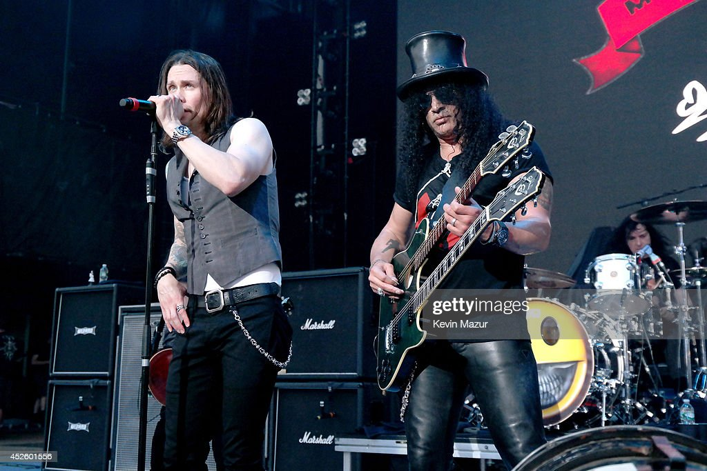 Myles Kennedy and Slash perform at Nikon at Jones Beach Theater on July 10, 2014 in Wantagh, New York.