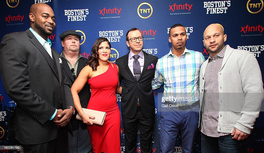 Myles Lawton, Robert 'Twitch' Twitchell, Jenn Penton, Donnie Wahlberg, Diamantino Araujo and Manny Canuto attend TNT's 'Boston's Finest' premiere screening at The Revere Hotel on February 20, 2013 in Boston, Massachusetts.