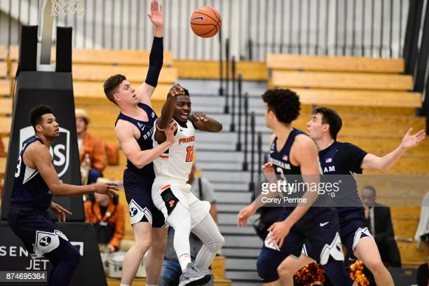 Myles Stephens of the Princeton Tigers passes the ball against the Brigham Young Cougars during the first half at L Stockwell Jadwin Gymnasium on...