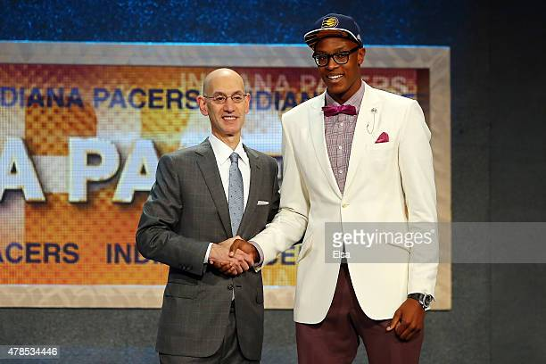Myles Turner meets with Commissioner Adam Silver after being selected 11th overall by the Indiana Pacers in the First Round of the 2015 NBA Draft at...