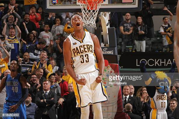 Myles Turner of the Indiana Pacers celebrates against the Dallas Mavericks on October 26 2016 at Bankers Life Fieldhouse in Indianapolis Indiana NOTE...