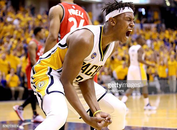 Myles Turner of the Indiana Pacers celebrates during the 10183 win over the Toronto Raptors in game six of the 2016 NBA Playoffs Eastern Conference...