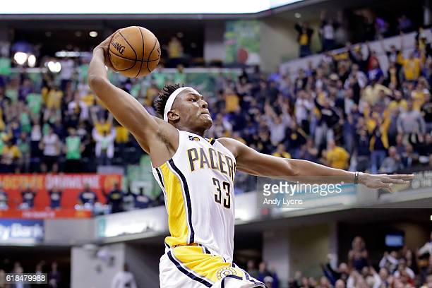 Myles Turner of the Indiana Pacers dunks the ball in overtime during the game against the Dallas Mavericks at Bankers Life Fieldhouse on October 26...