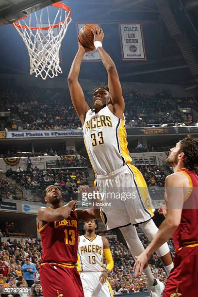 Myles Turner of the Indiana Pacers goes for the dunk during the game against the Cleveland Cavaliers on February 1 2016 at Bankers Life Fieldhouse in...