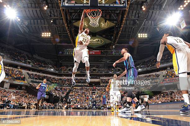 Myles Turner of the Indiana Pacers goes for the dunk during the game against the Charlotte Hornets on February 26 2016 in Indianapolis Indiana NOTE...