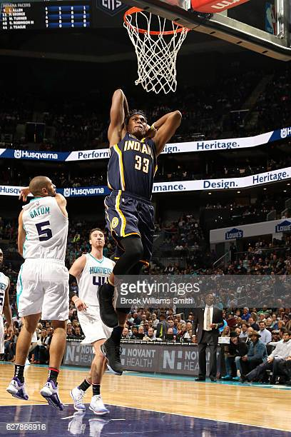 Myles Turner of the Indiana Pacers goes for the dunk during the game against the Charlotte Hornets on November 7 2016 at Spectrum Center in Charlotte...