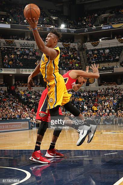 Myles Turner of the Indiana Pacers goes for the layup against the New Orleans Pelicans during the game on March 24 2016 at Bankers Life Fieldhouse in...