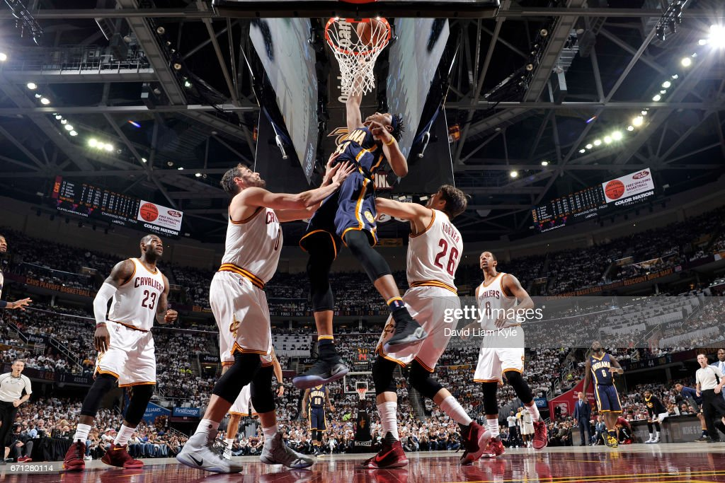 Myles Turner #33 of the Indiana Pacers goes to the basket against the Cleveland Cavaliers in Round One of the Eastern Conference Playoffs during the 2017 NBA Playoffs on April 15, 2017 at Quicken Loans Arena in Cleveland, Ohio.