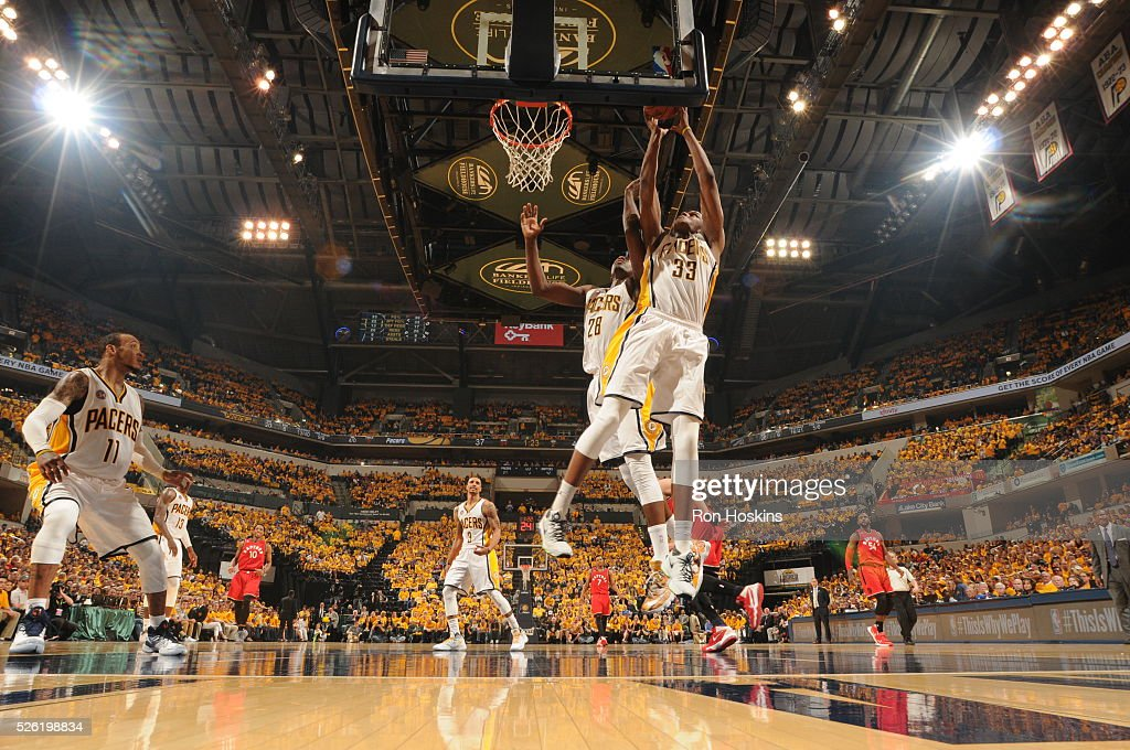 <a gi-track='captionPersonalityLinkClicked' href=/galleries/search?phrase=Myles+Turner+-+Basketball+Player&family=editorial&specificpeople=12698395 ng-click='$event.stopPropagation()'>Myles Turner</a> #33 of the Indiana Pacers grabs the rebound against the Toronto Raptors in Game Six of the Eastern Conference Quarterfinals during the 2016 NBA Playoffs on April 29, 2016 at Bankers Life Fieldhouse in Indianapolis, Indiana.
