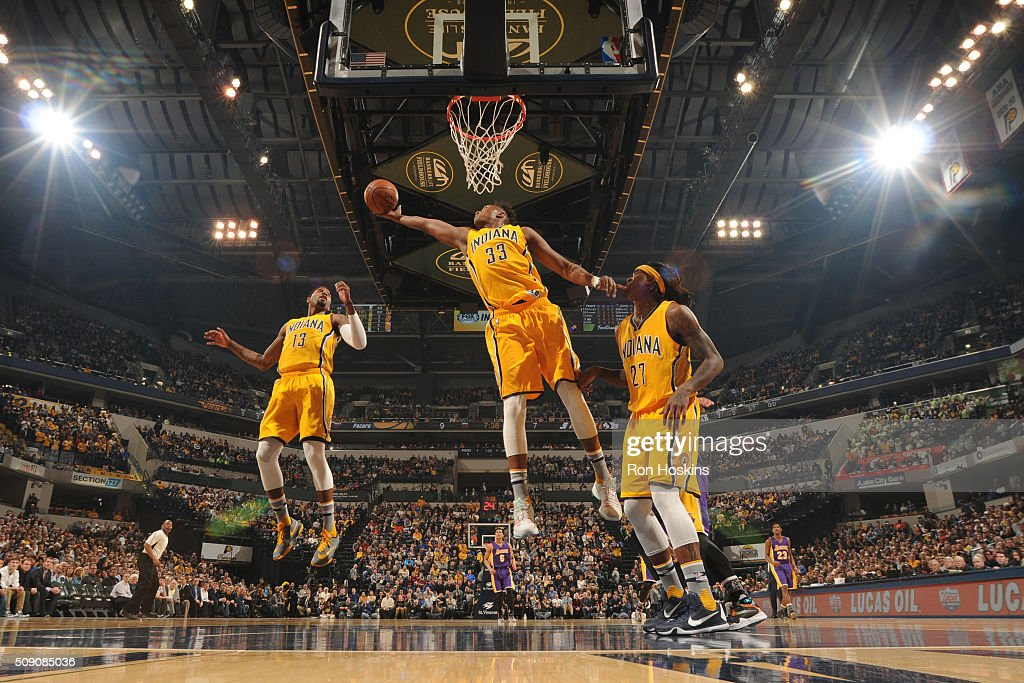 <a gi-track='captionPersonalityLinkClicked' href=/galleries/search?phrase=Myles+Turner+-+Basketball+Player&family=editorial&specificpeople=12698395 ng-click='$event.stopPropagation()'>Myles Turner</a> #33 of the Indiana Pacers grabs the rebound against the Los Angeles Lakers on February 8, 2016 at Bankers Life Fieldhouse in Indianapolis, Indiana.