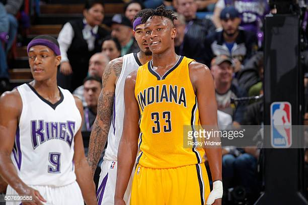 Myles Turner of the Indiana Pacers looks on during the game against the Sacramento Kings on January 23 2016 at Sleep Train Arena in Sacramento...