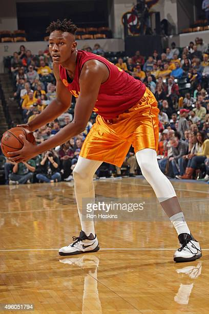 Myles Turner of the Indiana Pacers looks to pass the ball against the Miami Heat on November 6 2015 in Indianapolis Indiana NOTE TO USER User...