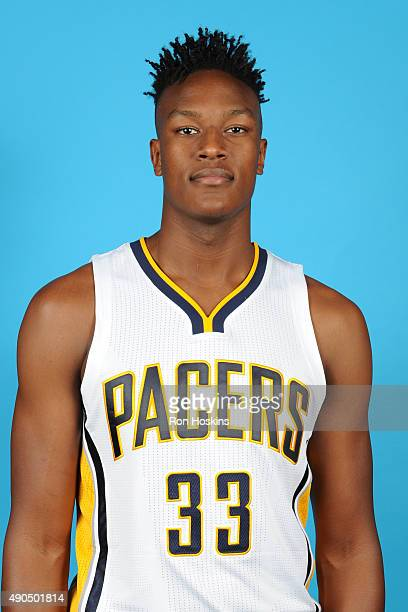 Myles Turner of the Indiana Pacers poses for a head shot during the Indiana Pacers media day at Bankers Life Fieldhouse on September 28 2015 in...
