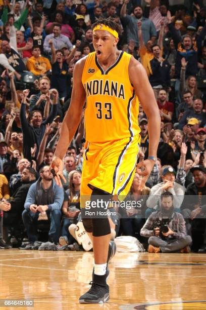 Myles Turner of the Indiana Pacers reacts during the game against the Toronto Raptors on April 4 2017 at Bankers Life Fieldhouse in Indianapolis...