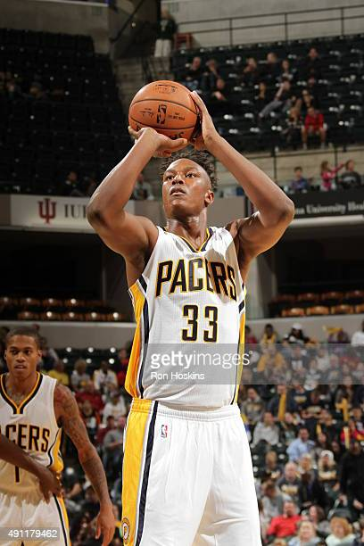 Myles Turner of the Indiana Pacers shoots a free throw against the New Orleans Pelicans during a preseason game on October 3 2015 at Bankers Life...