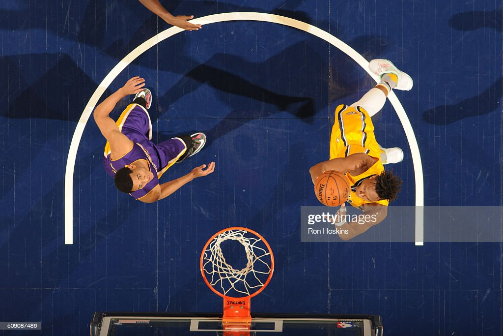 <a gi-track='captionPersonalityLinkClicked' href=/galleries/search?phrase=Myles+Turner+-+Basketball+Player&family=editorial&specificpeople=12698395 ng-click='$event.stopPropagation()'>Myles Turner</a> #33 of the Indiana Pacers shoots a lay up against the Los Angeles Lakers on February 8, 2016 at Bankers Life Fieldhouse in Indianapolis, Indiana.