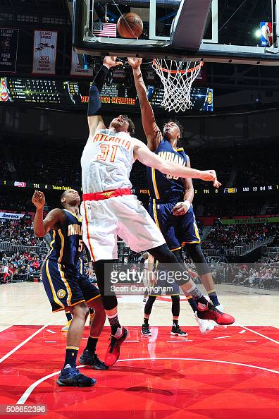 Myles Turner of the Indiana Pacers shoots the ball against the Atlanta Hawks on February 5 2016 at Philips Arena in Atlanta Georgia NOTE TO USER User...