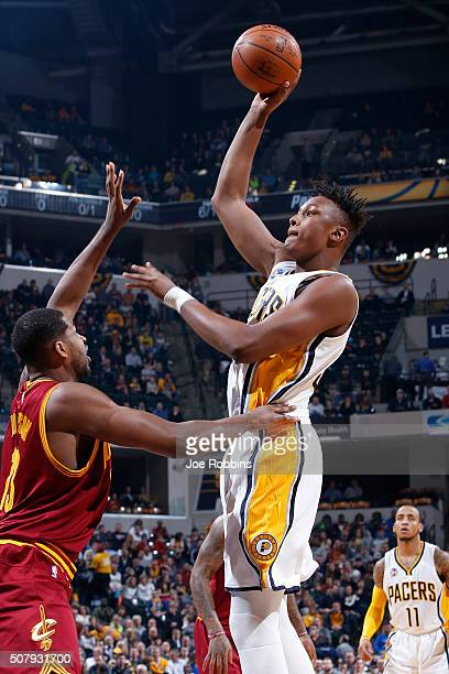 Myles Turner of the Indiana Pacers shoots the ball against the Cleveland Cavaliers in the first half of the game at Bankers Life Fieldhouse on...