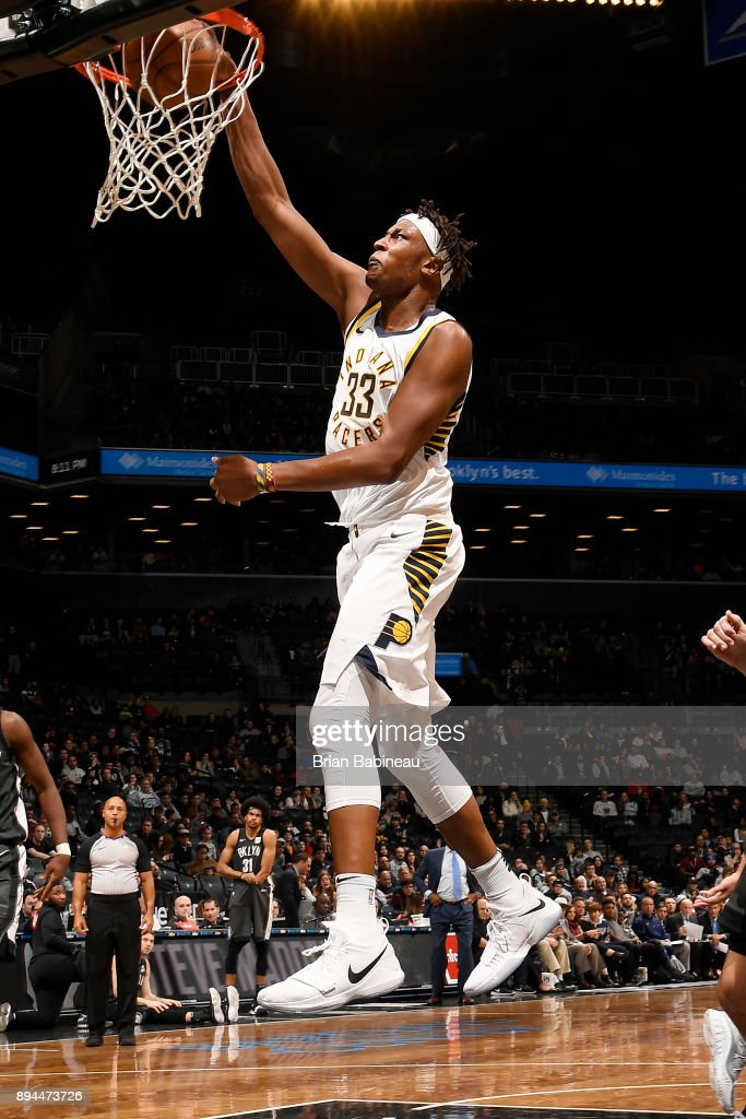 Myles Turner #33 of the Indiana Pacers shoots the ball against the Brooklyn Nets on December 17, 2017 at Barclays Center in Brooklyn, New York.