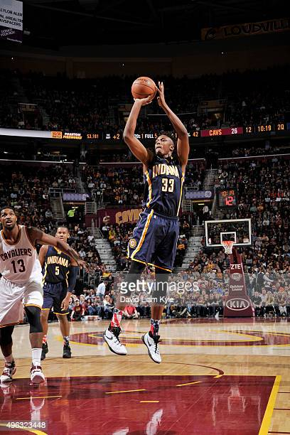 Myles Turner of the Indiana Pacers shoots the ball against the Cleveland Cavaliers on November 8 2015 at Quicken Loans Arena in Cleveland Ohio NOTE...