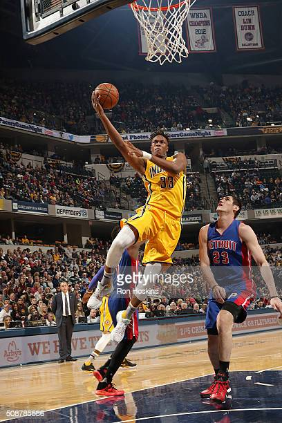 Myles Turner of the Indiana Pacers shoots the ball against the Detroit Pistons on February 6 2016 at Bankers Life Fieldhouse in Indianapolis Indiana...