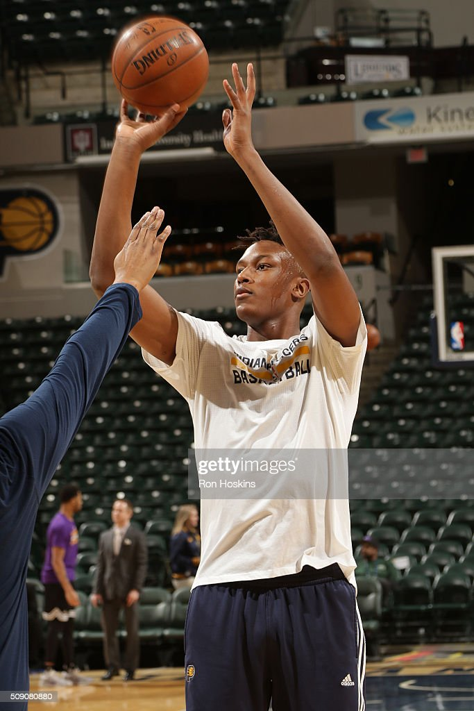 <a gi-track='captionPersonalityLinkClicked' href=/galleries/search?phrase=Myles+Turner+-+Basketball+Player&family=editorial&specificpeople=12698395 ng-click='$event.stopPropagation()'>Myles Turner</a> #33 of the Indiana Pacers warms up before the game against the Los Angeles Lakers on February 8, 2016 at Bankers Life Fieldhouse in Indianapolis, Indiana.