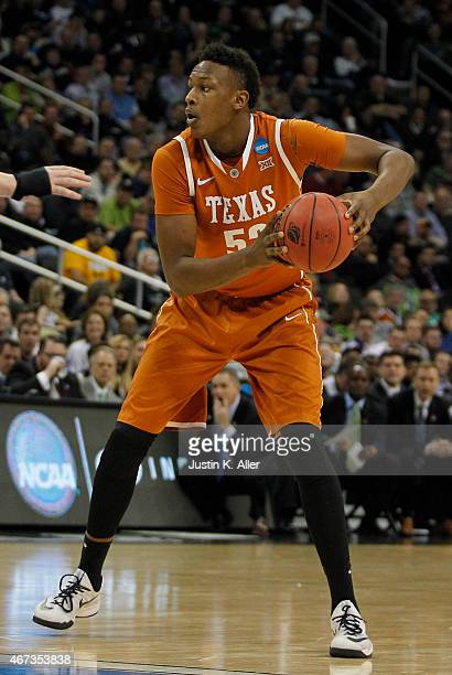 Myles Turner of the Texas Longhorns plays against the Butler Bulldogs during the second round of the 2015 NCAA Men's Basketball Tournament at Consol...