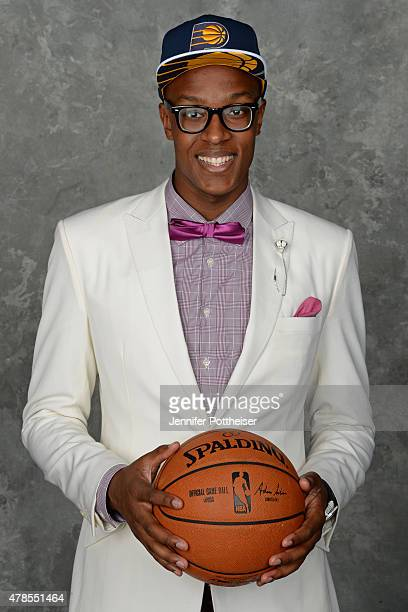 Myles Turner poses for a portrait after being drafted number eleven overall by the Indiana Pacers during the 2015 NBA Draft at the Barclays Center on...