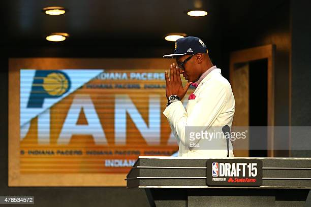 Myles Turner reacts after being selected 11th overall by the Indiana Pacers in the First Round of the 2015 NBA Draft at the Barclays Center on June...