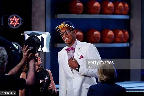 Myles Turner speaks to the media after being selected 11th overall by the Indiana Pacers in the First Round of the 2015 NBA Draft at the Barclays...