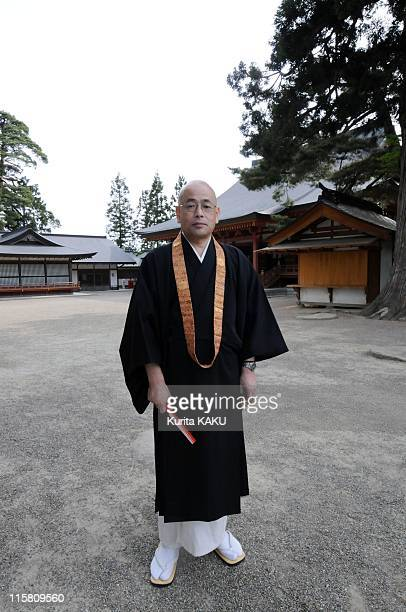 Myokyu Fujisato Executive Director of Motsuji temple stands outside the temple on May 29 2011 in Hiraizumi Japan Iwate Prefecture's cultural...