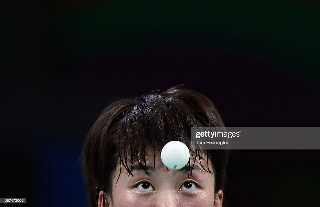 Myong Sun Ri of North Korea competes against Ai Fukuhara of Japan during Round 4 of the Women's Singles Table Tennis on Day 3 of the Rio 2016 Olympic Games at Riocentro - Pavilion 3 on August 8, 2016 in Rio de Janeiro, Brazil.