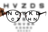 myopia correction glasses on the eye chart letters background