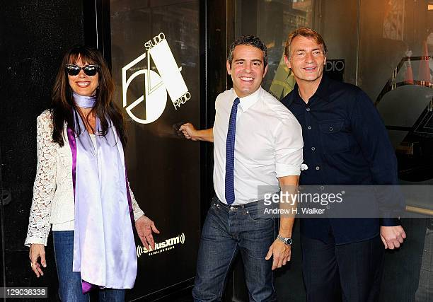 Myra Scheer Andy Cohen and Marc Benecke attend the unveiling of the Marquee at Studio 54 on October 11 2011 in New York City
