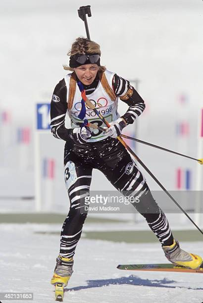 Myriam Bedard competes in the Women's 4x75k Biathlon relay event of the 1998 Winter Olympics held on February 19 1998 at Nozawa Onsen near Nagano...