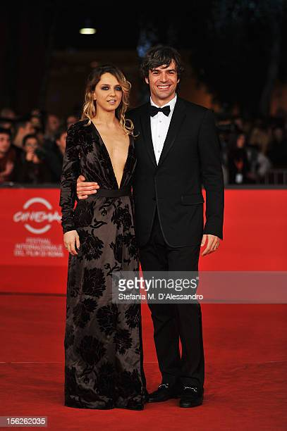 Myriam Catania and Luca Argentero attend 'The Lookout' Premiere during the 7th Rome Film Festival at the Auditorium Parco Della Musica on November 12...