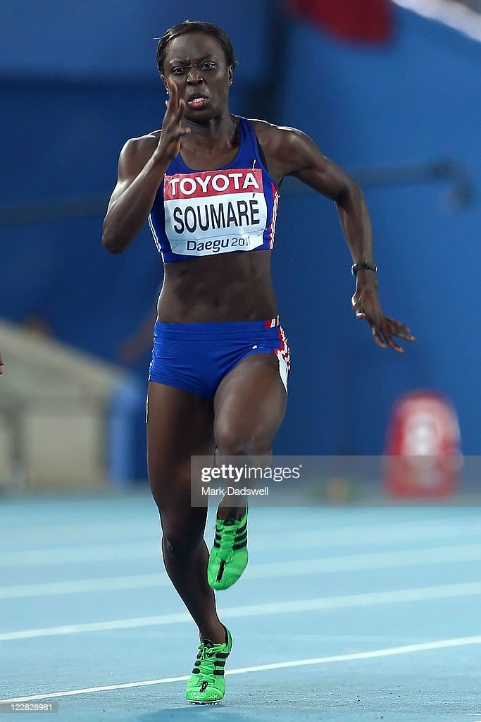<a gi-track='captionPersonalityLinkClicked' href=/galleries/search?phrase=Myriam+Soumare&family=editorial&specificpeople=5499796 ng-click='$event.stopPropagation()'>Myriam Soumare</a> of France competes in the women's 100 metres semi finals during day three of the 13th IAAF World Athletics Championships at the Daegu Stadium on August 29, 2011 in Daegu, South Korea.