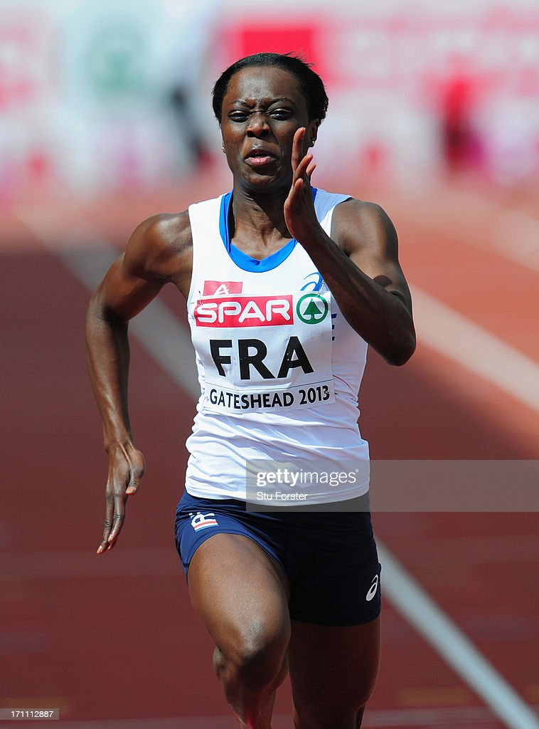 <a gi-track='captionPersonalityLinkClicked' href=/galleries/search?phrase=Myriam+Soumare&family=editorial&specificpeople=5499796 ng-click='$event.stopPropagation()'>Myriam Soumare</a> of France in action in the Womens 100 metres heats during day one of the European Athletics Team Championships at Gateshead International Stadium on June 22, 2013 in Gateshead, England.