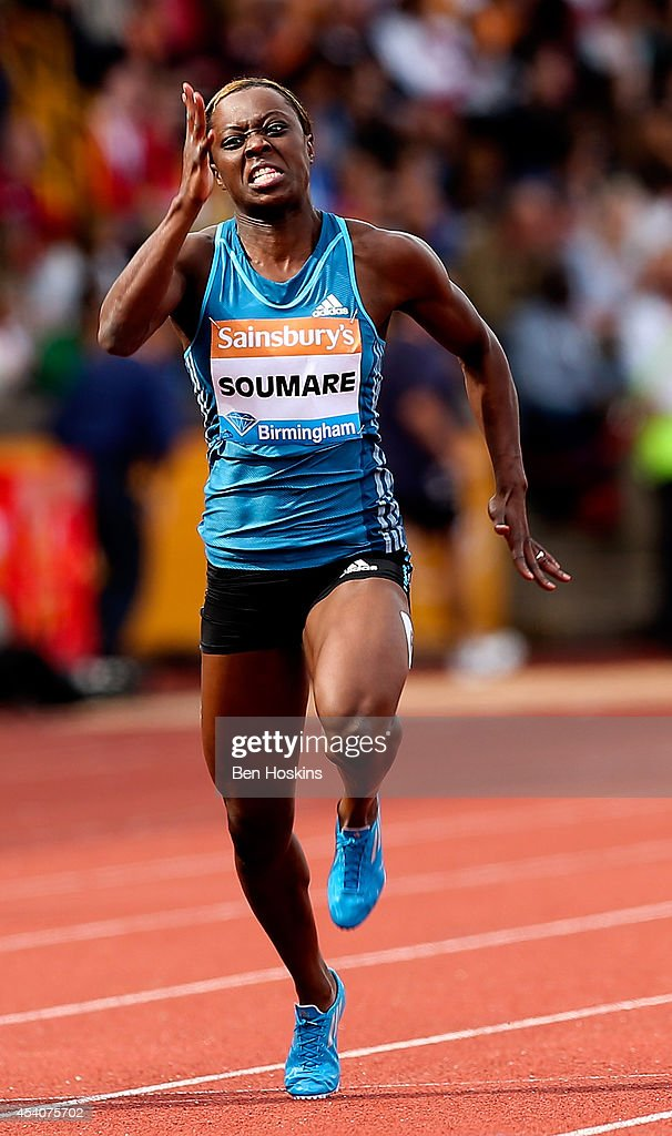 <a gi-track='captionPersonalityLinkClicked' href=/galleries/search?phrase=Myriam+Soumare&family=editorial&specificpeople=5499796 ng-click='$event.stopPropagation()'>Myriam Soumare</a> of France in action in the Women's 100m final during the Diamond League at Alexander Stadium on August 24, 2014 in Birmingham, England.